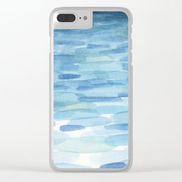 Sunset and Ocean Watercolor Clear iPhone Case