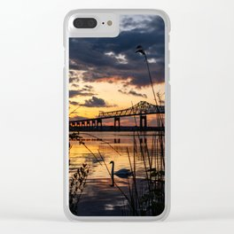 Sun sets on the bridge Clear iPhone Case