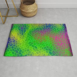 Volumetric texture of pieces of green glass with a Iridescent mysterious mosaic. Rug
