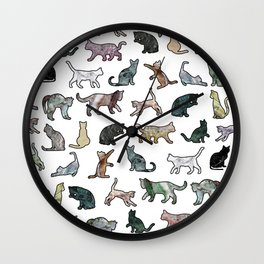 Cats shaped Marble - White Wall Clock