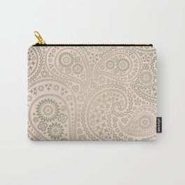 Gold and Soft Pink Paisley Pattern Carry-All Pouch