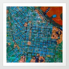 Odessa antique map, colorful mas, classic artwork Art Print