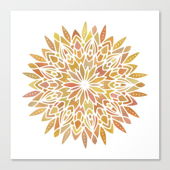 Mandala Desert Copper Gold Canvas Print