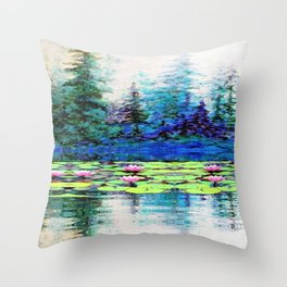 BLUE SPRUCE GREEN LILY PADS LAKE ART Throw Pillow