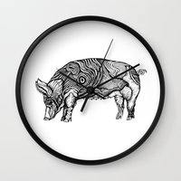pig Wall Clocks featuring Pig by Rebexi