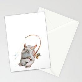 A hippopotamus fishing Stationery Cards