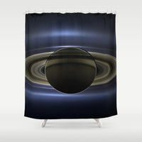 saturn Shower Curtains featuring Saturn by 2sweet4words Designs