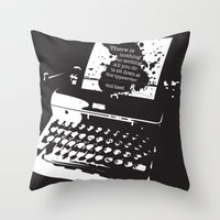 hemingway Throw Pillows featuring Ernest Hemingway Quote by People Matter Creative