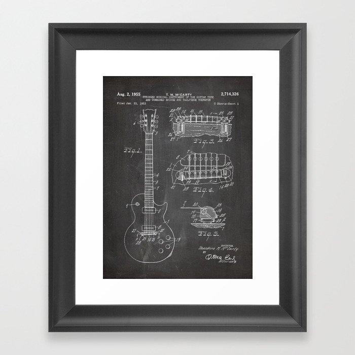 Gibson Guitar Patent - Les Paul Guitar Art - Black Chalkboard Gerahmter Kunstdruck