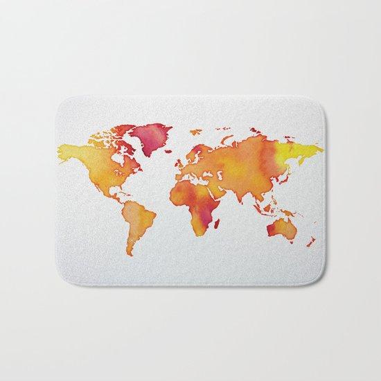 Orange World Map Bath Mat
