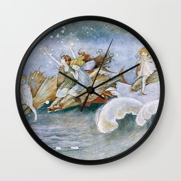 """""""Flying Fish Riders"""" by Ida Rentoul Outhwaite (1916) Wall Clock"""