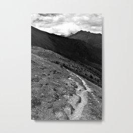 narrow hiking path alps serfaus fiss ladis tyrol austria europe black white Metal Print