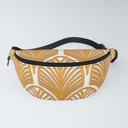 Orange,white,art deco, vintage,fan pattern, art nouveau, vintage, Fanny Pack
