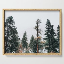 Snow Capped Pine Trees Serving Tray