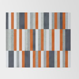 Orange, Navy Blue, Gray / Grey Stripes, Abstract Nautical Maritime Design by Throw Blanket