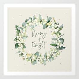 Cream Merry and Bright Snowberry and Eucalyptus Christmas Wreath Art Print