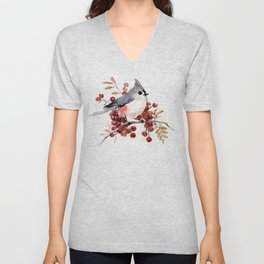 Titmouse and Berries, red fall colors, birds and flowers vintage style east coast Unisex V-Neck