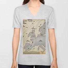 British Isles vintage weather map poster Unisex V-Neck