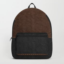 Brown & Black Stitched Leather Backpack