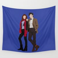 karen hallion Wall Tapestries featuring Matt Smith as Dr Who and Karen Gillan as Amy Pond by liamgrantfoto