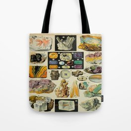 Minerals Vintage Scientific Illustration French Language Encyclopedia Lithographs Educational Diagra Tote Bag