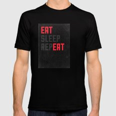 EAT SLEEP REPEAT Mens Fitted Tee Black MEDIUM