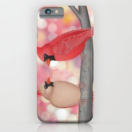 cardinals and sun-kissed bokeh iPhone Case