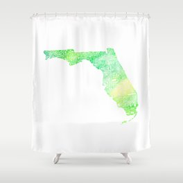 Typographic Florida - green watercolor Shower Curtain