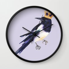 Magpie painting, watercolor birds, bird lover gift, magpie pillow Wall Clock