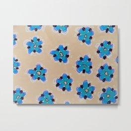 Blue Cactus Rose Metal Print
