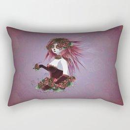 Sugar skull girl in purple Rectangular Pillow