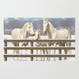 White Horses in Snow Rug