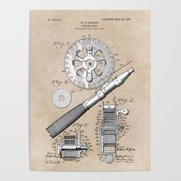 patent art Glocker Fishing reel 1906 Poster