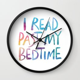 I read past my bedtime - Rainbow Wall Clock