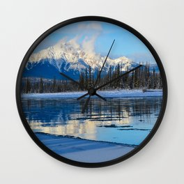Winter Reflections in the Athabasca River, Jasper National Park Wall Clock