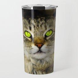 Cat with Green Eyes Travel Mug