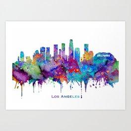 Los Angeles Skyline Colorful Watercolor Art Cityscape With City Name Los Angeles Cityscape Art Print