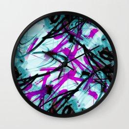 All Over Abstract Pollock Style Aqua and Magenta Wall Clock