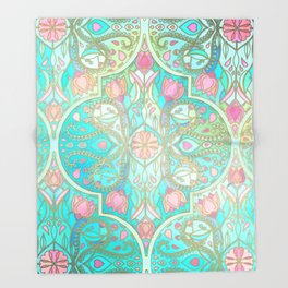 Floral Moroccan in Spring Pastels - Aqua, Pink, Mint & Peach Throw Blanket