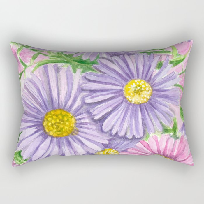 Pink and purple flowers Rectangular Pillow