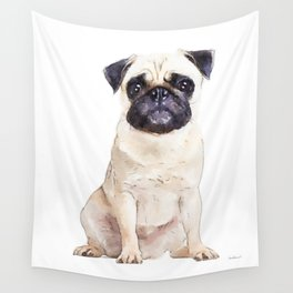 Pug, cream pug, watercolor, puppy, dog Wall Tapestry