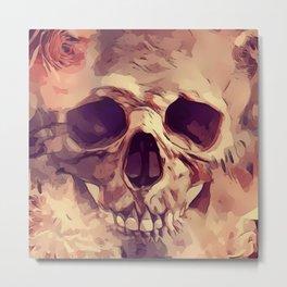 Flowery Pink Goth Rose Skull Metal Print
