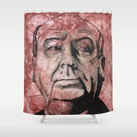 hitchcock Shower Curtains featuring Hitchcock by Colunga-Art