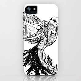 Hummingbird Phoenix Pen and ink Hand drawn design iPhone Case