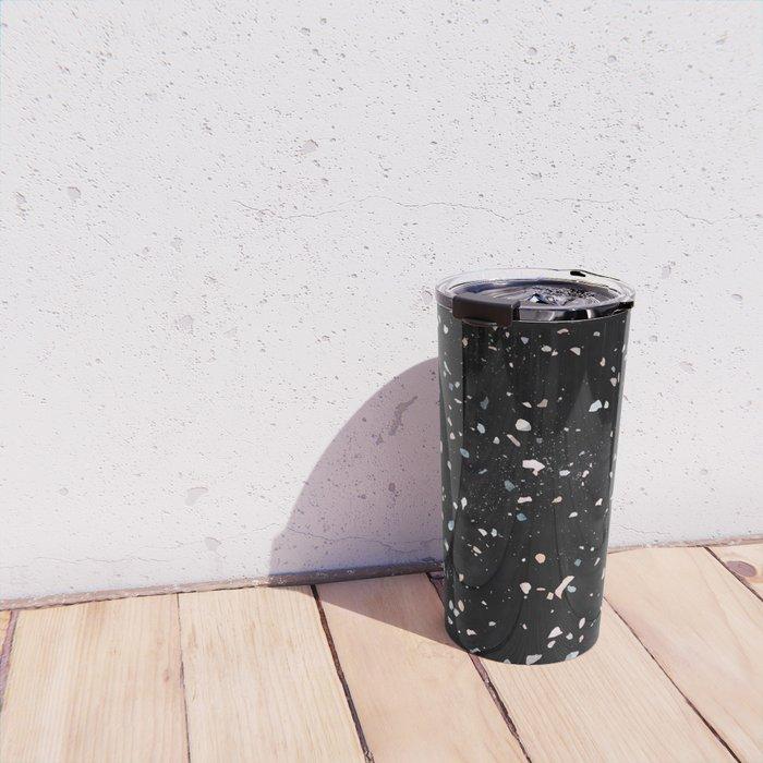 Terrazzo Memphis black galaxy Travel Mug
