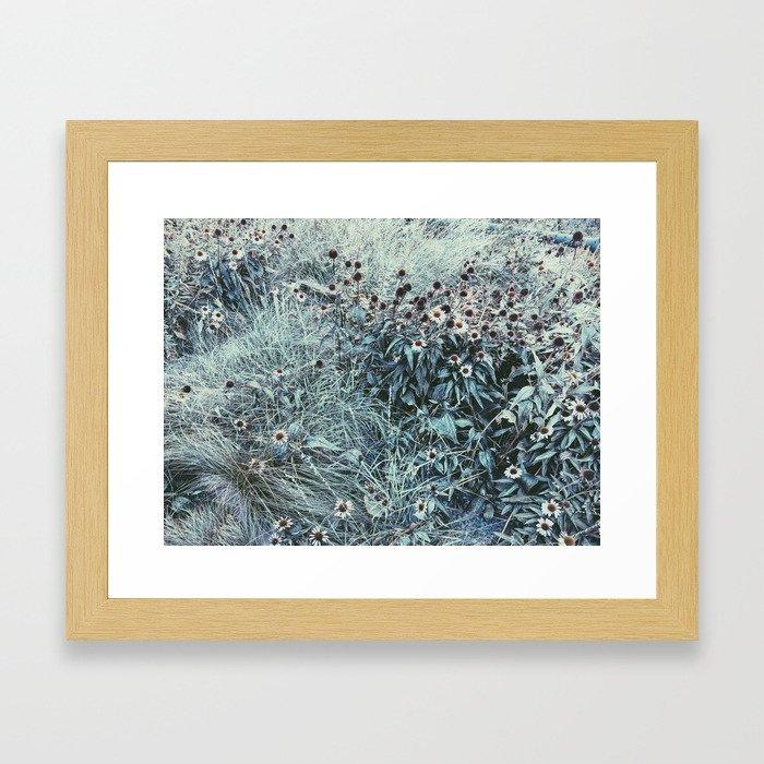 Silver Flowers Framed Art Print