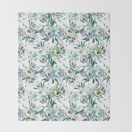 Country white green rustic watercolor floral Throw Blanket