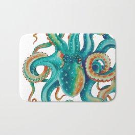 Octopus Tentacles Teal Green Watercolor Art Bath Mat