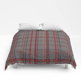 Gray, red tartan plaid. Comforters