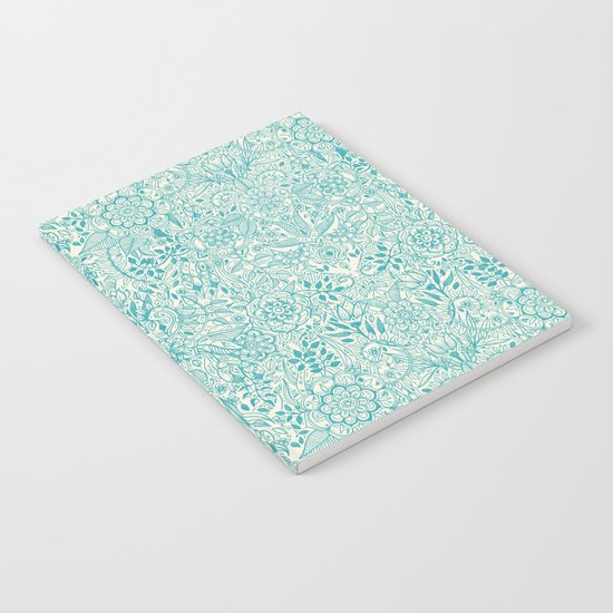 Detailed Floral Pattern in Teal and Cream Notebook